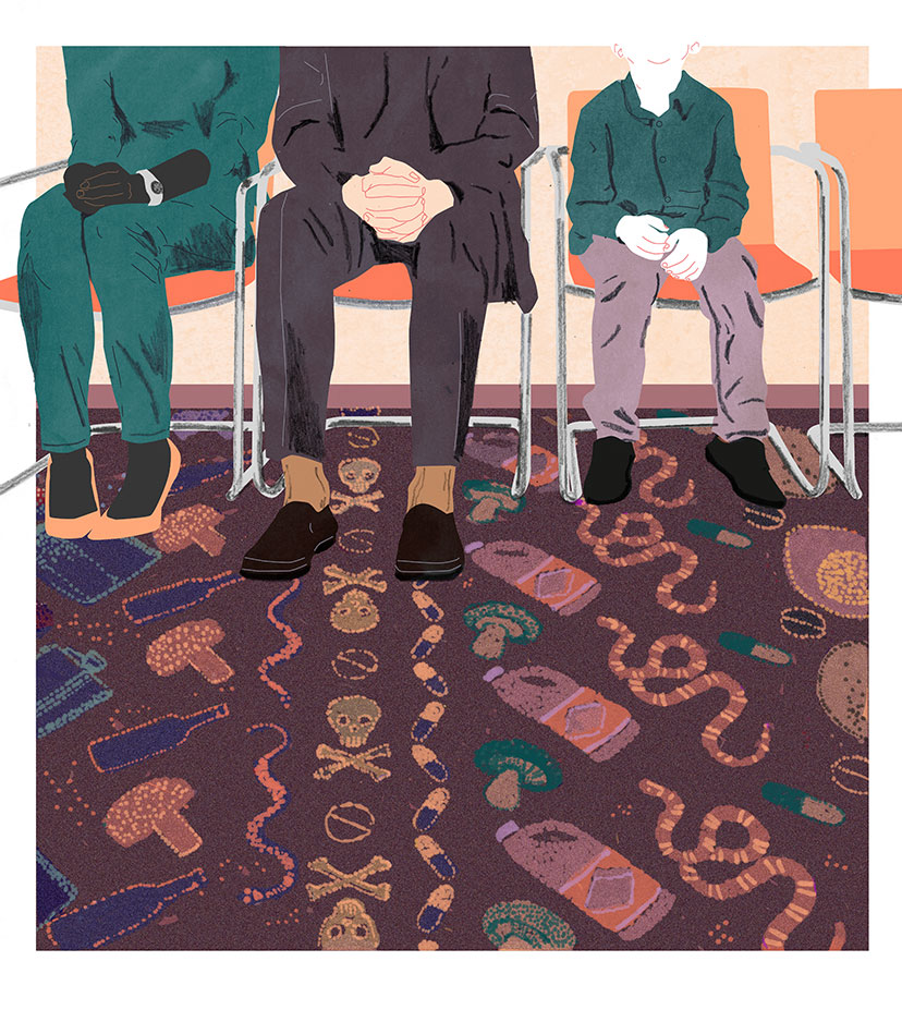 hospital waiting room people toxic pattern carpet