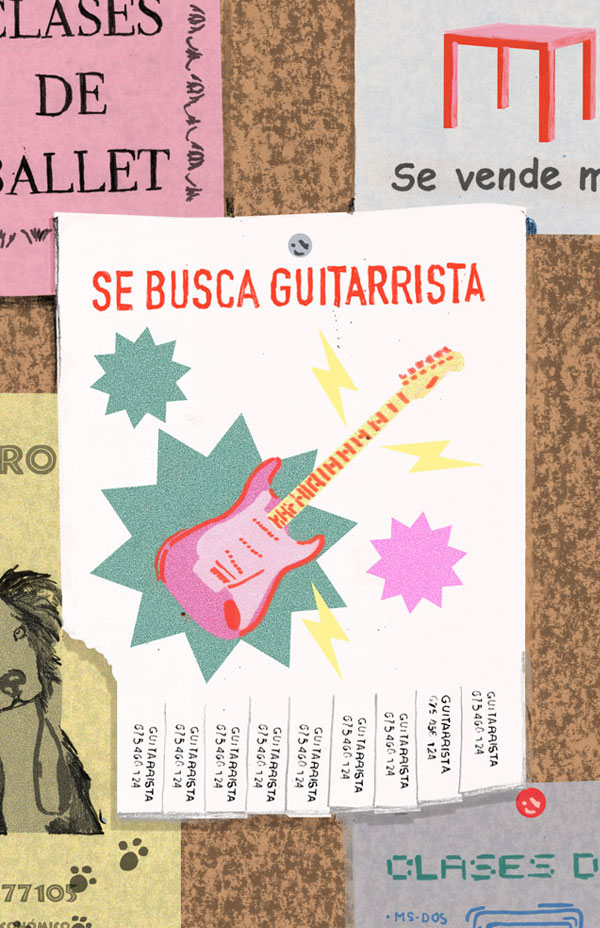 pin board looking for guitarrist illustration