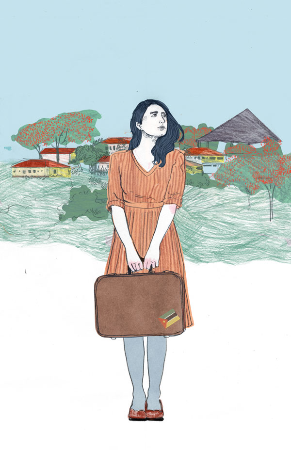 woman with suitcase in Mozambique illustration