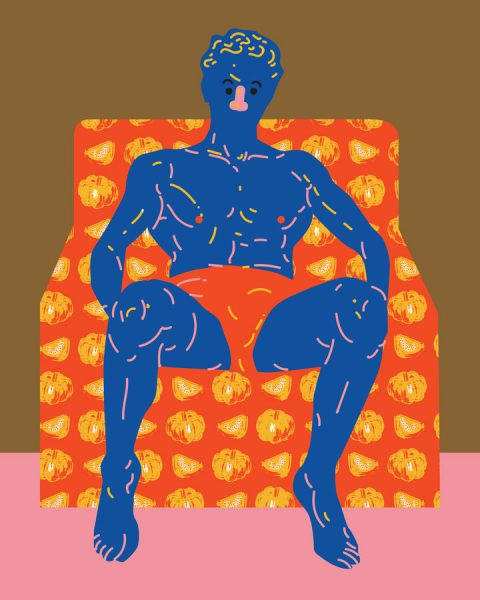 blue skin man sitting chair pumkin pattern