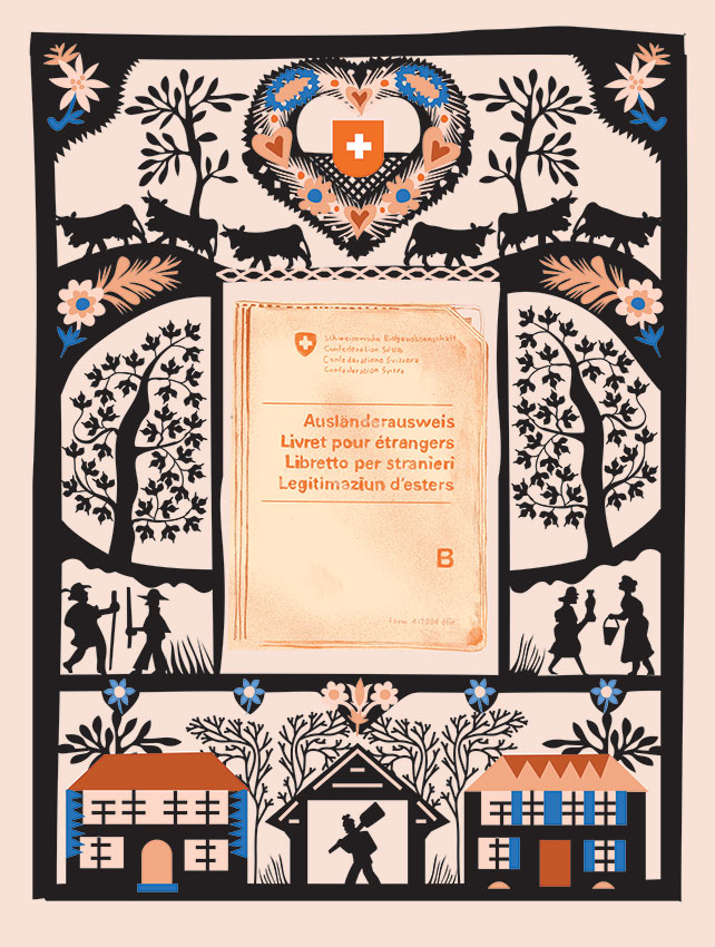 Traditional papercut surrounding a residency permit