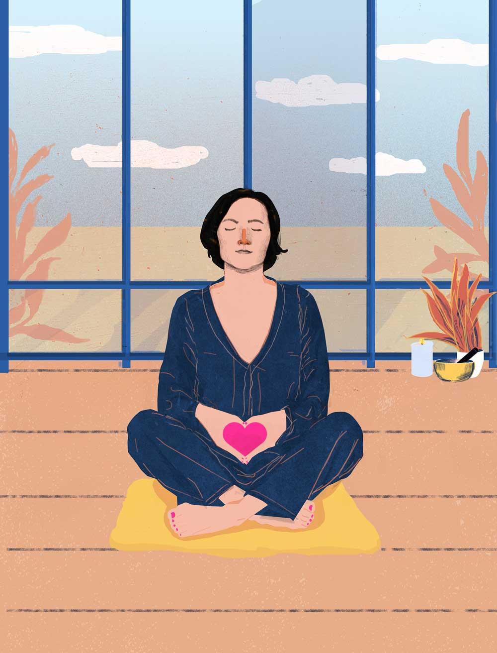 woman yoga illustration heart