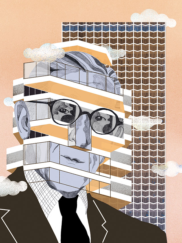 Portrait of Richard Seifert for The Architectural Review