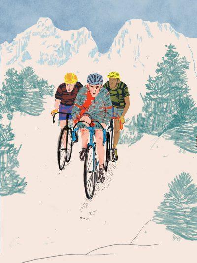 three cyclists illustration