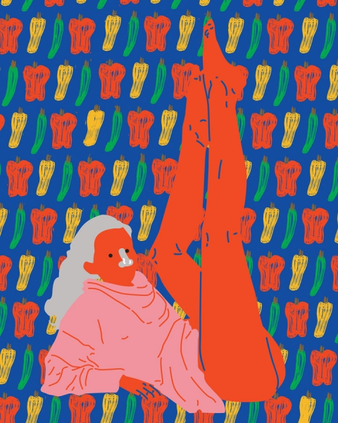 woman red legs pepper pattern illustration