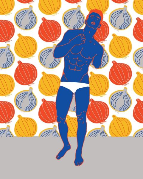 one armed man in underwear onion pattern illustration by osmarval
