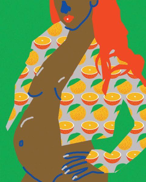 pregnant woman orange pattern jacket