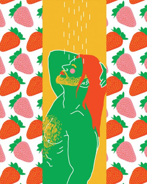 man long hair in shower strawberry curtain